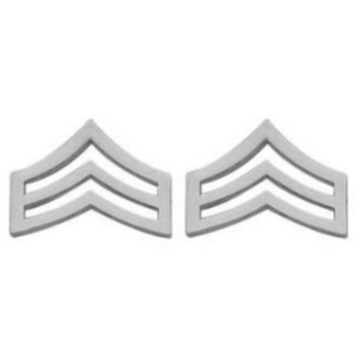 "SRGT Police Chevron Silver Plated 3/4"" Military Rank Insignia Pin Set 305 New image 3"