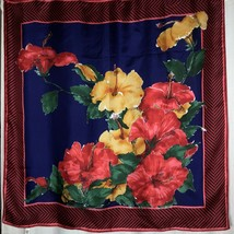 Vera Neumann Silk Scarf Red Green Blue Floral Flowers 31 Inch Square Vin... - $30.69