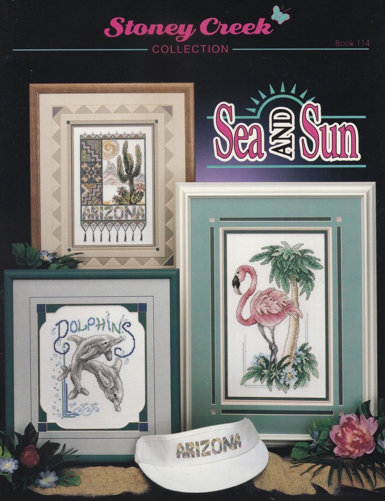 Sea and Sun, Stoney Creek Cross Stitch Pattern Book 114 Dolphin Manatee Flamingo