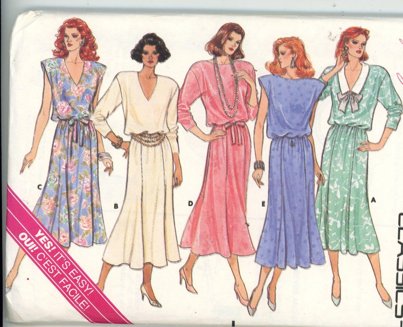 5795 Vintage Simplicity Sewing Pattern Misses Pullover Dress in 3 Lengths UNCUT
