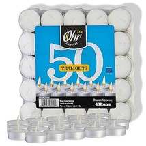 Ohr Tea Light Candles - 50 Bulk Pack - White Unscented Travel, Centerpie... - $11.14