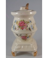 Vintage White China Pot Belly Stove Floral Desi... - $19.99