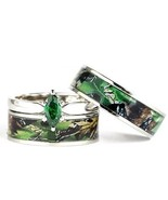 His & Hers Camo Green Marquis Stainless Steel & Sterling Silver Wedding Ring Set - $48.15