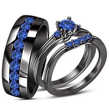 Black Gold Fn. Round Cut Blue Sapphire Engagement Bridal Wedding Ring Trio Set - $168.85