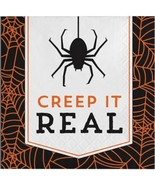 Creep It Real 16 Beverage Napkins Halloween Party Cocktail Spider - $4.39
