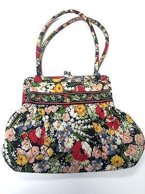 VERA BRADLEY Kisslock Large Poppy Fields Alice Colorful Purse Shoulder Bag B2122