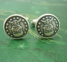 Vintage Military cufflinks US Air Force Eagle Bomb Wings 13 stars shield... - $75.00