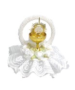 Communion challis cake top with lace trim and silk flowers all in white - $18.80