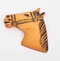 """Vintage 2 1/2"""" Butterscotch Faux Bakelite Plastic Horse Head & Bridle Pi... - $64.35"""