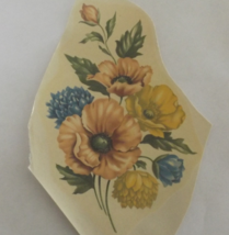 "3 Pink & Yellow Poppies Waterslide Ceramic Decals - 5"" - Vintage - $4.25"