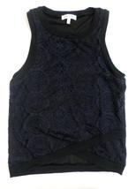Cute Womens Size M Monteau Navy Blue Lace Tank Top Black Trim Asymmetric... - $9.89