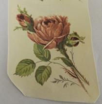 """4 Pink Roses Waterslide Ceramic Decals - 3.5"""" - Vintage - $4.00"""