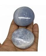 "184.6g, 2""-2.1"", 2pcs, Blue Calcite Palm-Stone Tumbled Reiki @Madagascar... - $20.78"