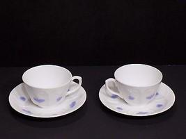 Beautiful Vintage 4 Pc Set Adderley Blue Chelsea Demitasse Cups Saucers ... - $22.28