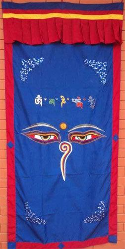 Blue Wisdom Eye Cotton Door Curtains NEPAL