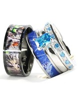 4pcs His Hers Camo Blue Radiant Stainless Steel Sterling Silver Wedding Ring Set - $62.99