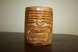 Vintage~Mid Century~Hawaiian~Hand Carved~Wood~Tiki Mug - $13.99