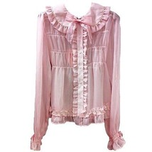 Baby The Stars Shine Bright Lame Stripe Chiffon Blouse Pink BTSSB Lolita Fashion - $259.00