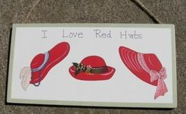 38B - I Love Red Hats Wood Sign  - $3.50