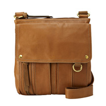 Fossil Saddle Morgan Traveler Leather Zipper Brass Crossbody/Messenger - $285.99