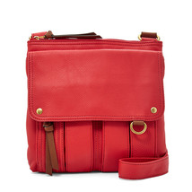 Fossil Pomegrante Morgan Traveler Leather Zipper Brass Crossbody/Messenger - $225.99