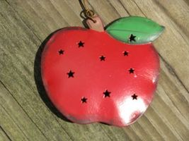 OR319- 3DPunched Tin Apple Ornament  - $1.95