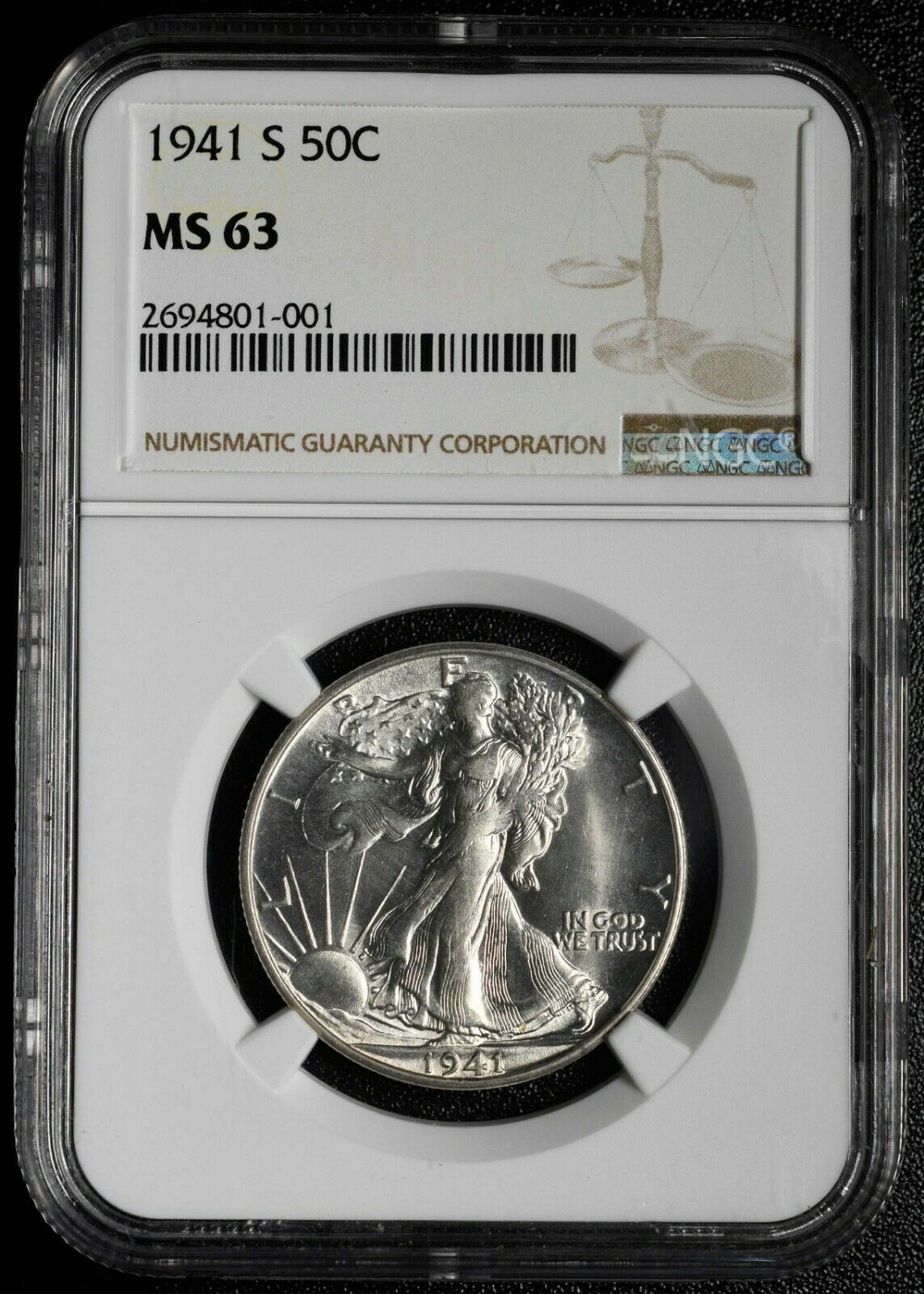 1941S Walking Liberty Half Dollar 90% Silver Coin NGC MS63 Lot# A 481