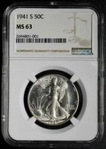 1941S Walking Liberty Half Dollar 90% Silver Coin NGC MS63 Lot# A 481 image 1