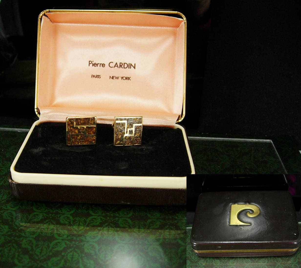 Vintage Pierre Cardin Cufflinks gold mosaic Unusual cuff links With Box  Tuxedo 068d694287