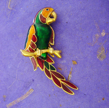 "2"" huge Parrot Brooch Bright and colorful Vintage flying rain forest bird ladies - $40.00"