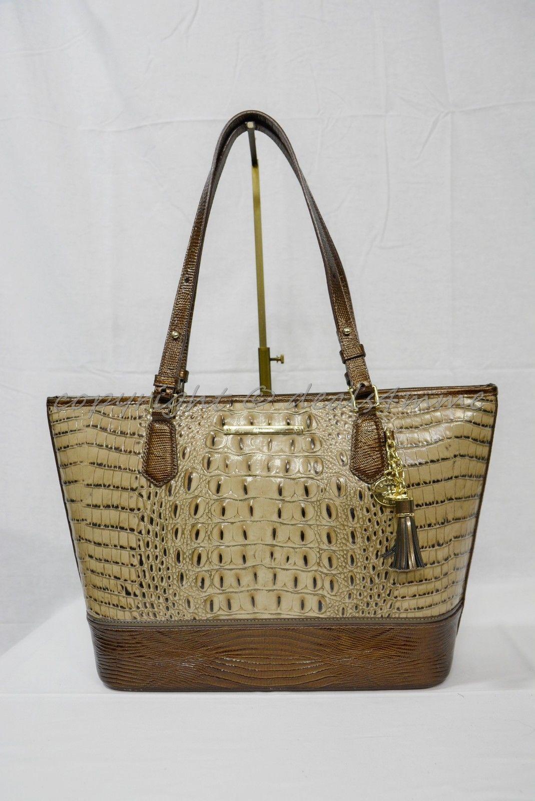 NWT Brahmin Medium Asher Leather Tote/Shoulder Bag Barley Bronte - Beige Brown image 2