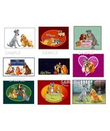 9 Lady and The Tramp Stickers, Birthday party favors, labels, decals, cr... - $8.99