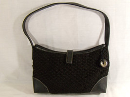 THE SAK Handbag Black Crochet and Leather ~ Medium Size Purse ~ Shoulder... - $24.70