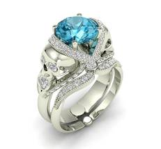 Skull Engagement Ring Set in White 14 k Aquamarine - $1,989.00