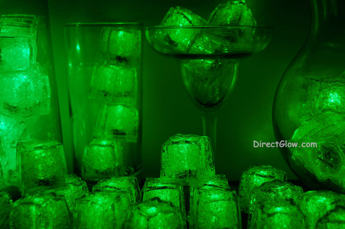 Primary image for Set of 96 Green Litecubes Brand 3 Mode Light up LED Ice Cubes