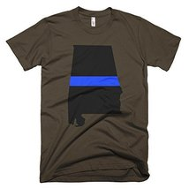 Alabama Thin Blue Line Men's T-Shirt (Large, Brown) - $24.99