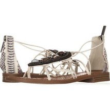 Nine West Grinning Zip Beaded Dress Sandals 461, Off White Black/Off Whi... - $26.86