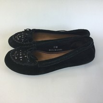 American Eagle Moccasins Women's Size 8 M Flat Slip On Shoes Black Round Toe Bow - $19.24