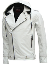 Magnificent White Men's Hooded Leather Jacket, men new style jacket - $159.99
