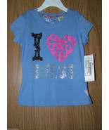GUESS Girls Blue/Pink/Black Bedazzled T-Shirt I LOVE GUESS. Sz.S(4) US. NWT - $14.84