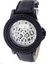 King Master 12 Diamonds Watch with Black Case leather band - $931,98 MXN