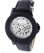 King Master 12 Diamonds Watch with Black Case leather band - $49.49