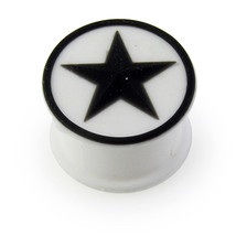 Embossed Black Star on Soft and Flexible White Silicone Tunnels Ear Plug - $5.75