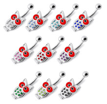 Trendy Jeweled Owl 925 Sterling Silver with Stainless Steel Belly Button Ring - $14.55