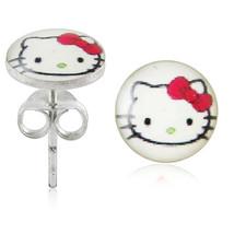 White Hello Kitty 925 Sterling Silver Stud Earring - $3.89