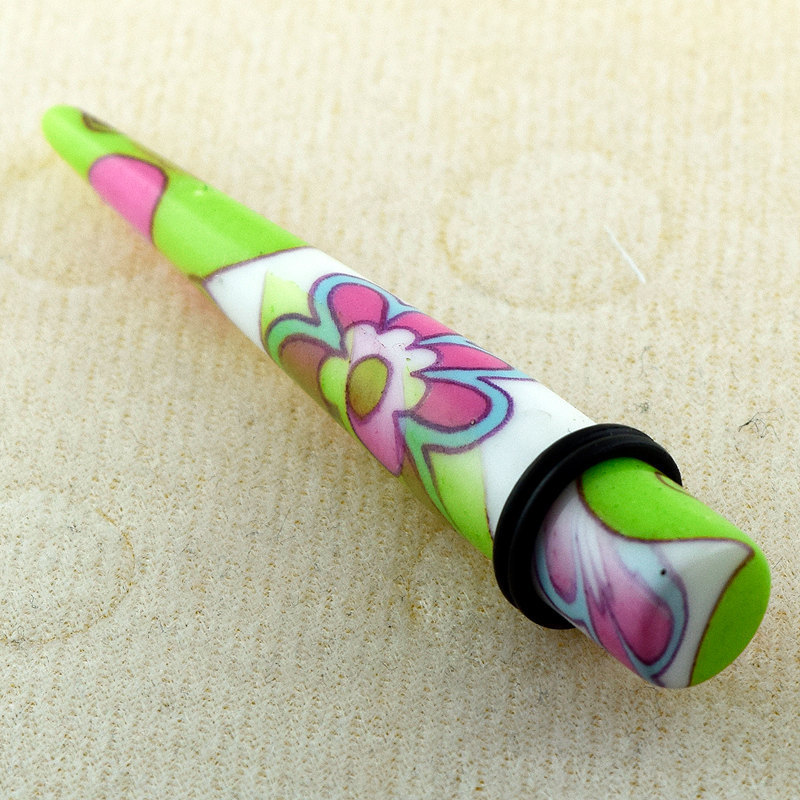 Colorful Butterfly with Flower Pattern UV Acrylic Straight Taper Ear Plug Expand