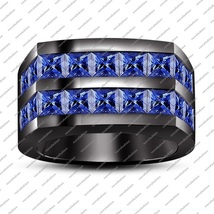Princess Cut Black Gold Plated 925 Sterling Silver Men's Band Marvelous ... - $126.48