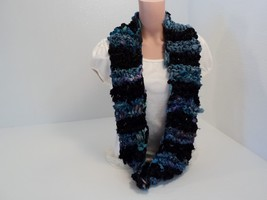 Handcrafted Wrap Cowl Blue Black Recycled Silk Ribbon Female Striped - $35.51