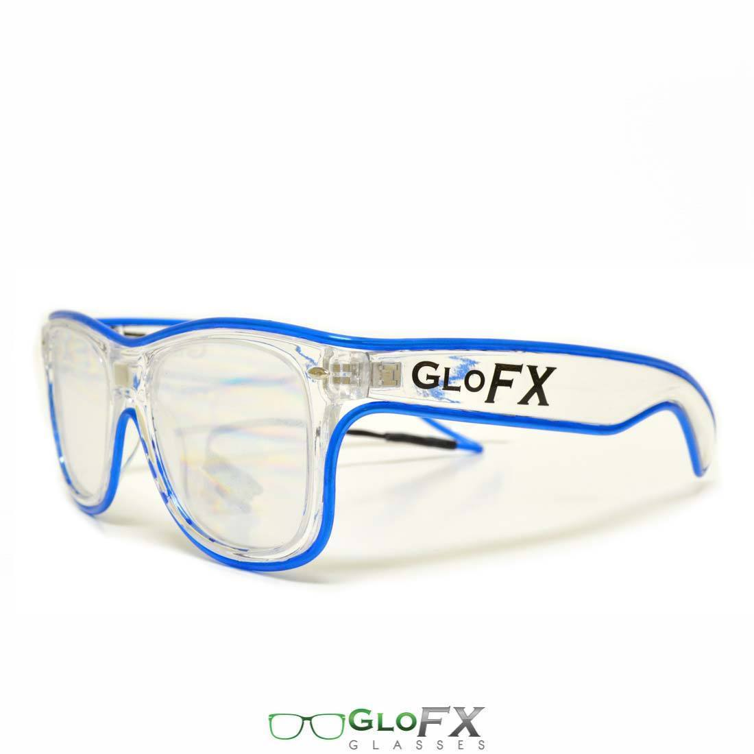 df100519c747 LED Rave Glasses Light Diffraction Lenses Blue Wire EL trippy rainbow raver  USA