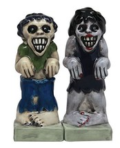 Zombies Magnetic Ceramic Halloween Salt and Pepper Shakers S&P Set Monst... - $12.69